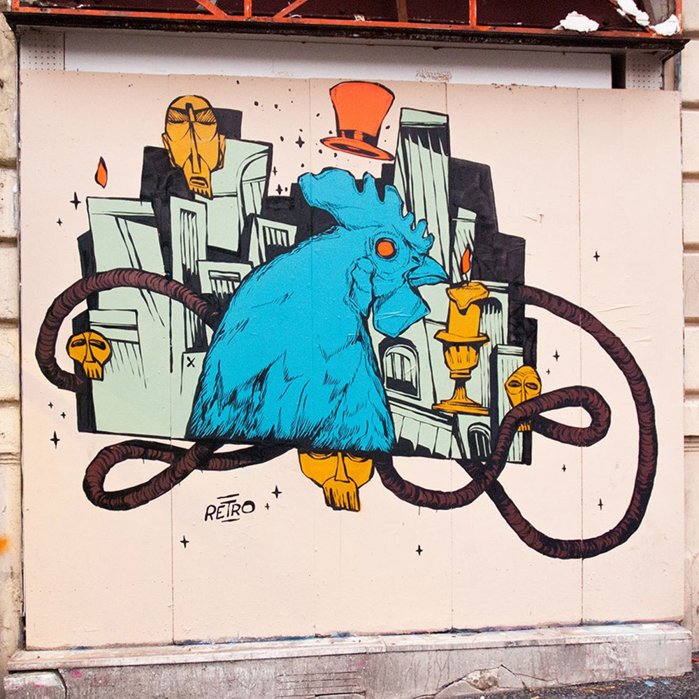 Retro--mur-oiseaux-coq